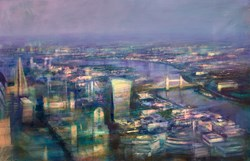London Awakes by Cristina Bergoglio - Original Painting on Box Canvas sized 61x40 inches. Available from Whitewall Galleries